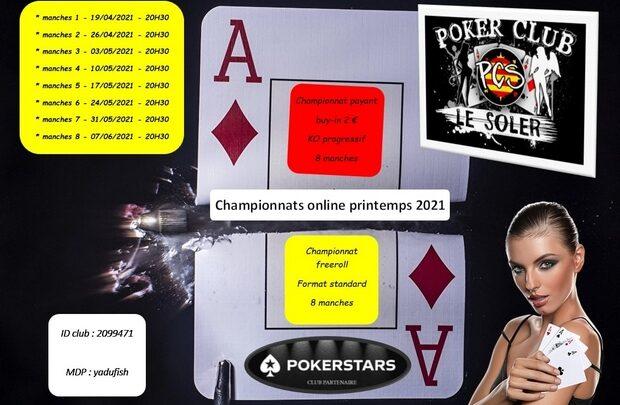 Printemps 2021 : 2 championnats online ouverts à tous par Poker Club Le Soler.